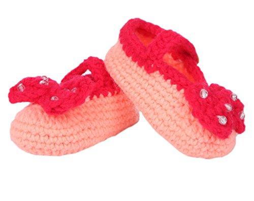Smile YKK Strickschuh Strick Schuh Baby Unisex süße Stil One-Size 11cm Schleife Pink