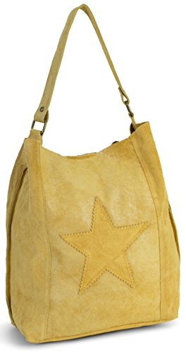 LiaTalia Womens Large Star Real Italian Suede Leather Single Shoulder Strap Hobo Slouch Shopper Handbag - Serene [Mustard Yellow] (Star Italian)