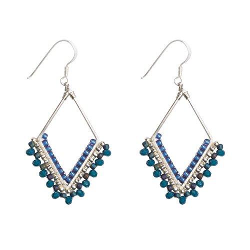 Earrings Dangling Handmade (Joop Joop Handmade Brass Crystal Modern Boho Geometric Beaded Drop Fashion Earrings)