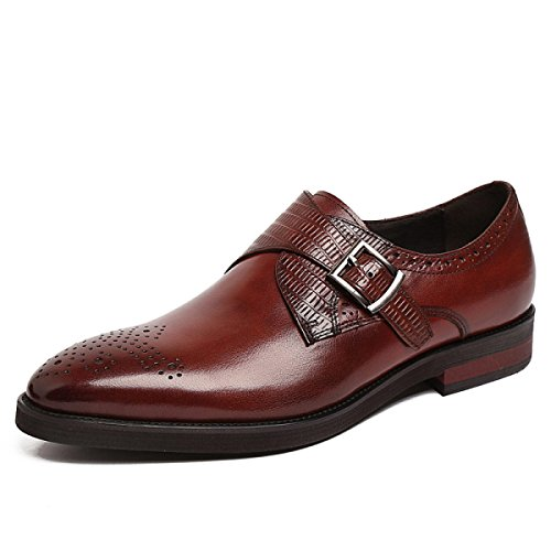 GRRONG Zapatos De Cuero De Los Hombres Banquete Señaló Negocio Cómodo Brown