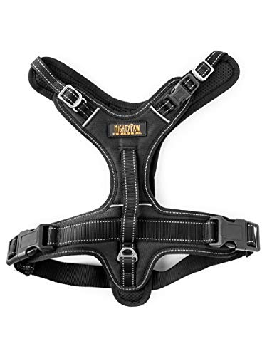 Mighty Paw Sport Harness 2.0, Padded Dog Harness, Adjustable Neck and Chest Straps with Reflective Stitching (Large, Black)