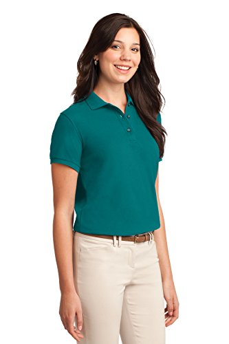 Port Authority Ladies Silk Touch Polo. L500 Teal Green CIeki2Lt