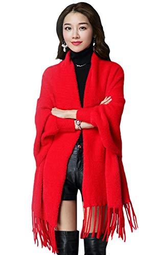 Imitación Calientes Mujer 2 Punto Capa Rojo De Invierno Cardigan Piel Insun Poncho Chaqueta BI7Tnwxxv