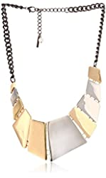 "Steve Madden ""Mixed Metallica"" Two-Tone Geometric Segmented Necklace, 18"""