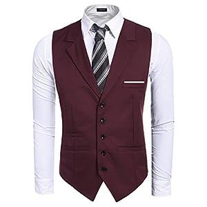 COOFANDY Men's Suit Vest Slim Fit Formal Vest Jacket Wedding Dress Waistcoat