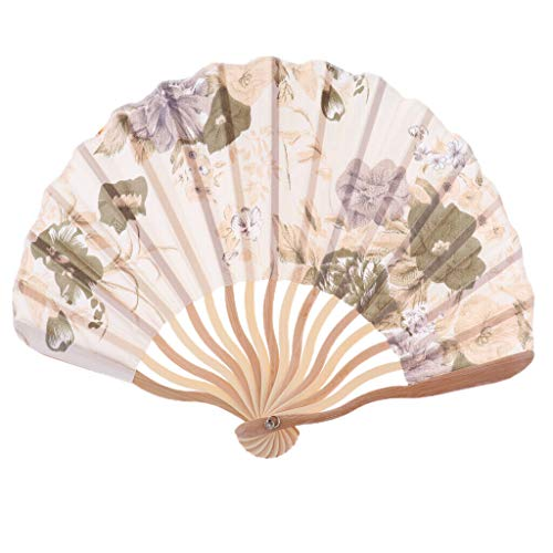 Chinese Japanese Floral Silk Folding Hand Held Dance Fan Party Wedding Decor |Color - Gold ()
