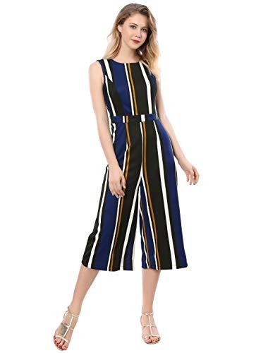Allegra K Women's Sleeveless Round Neck Cropped Striped Jumpsuit Blue S (US 6)