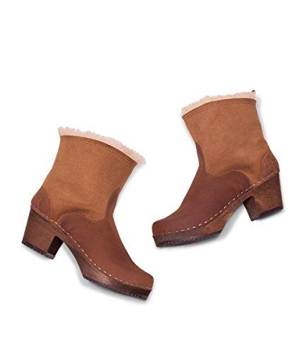 Dark Heel Swedish Pasco Dexter High Tan Clog Women Base Sandgrens Boots Wooden U1fZH1qw