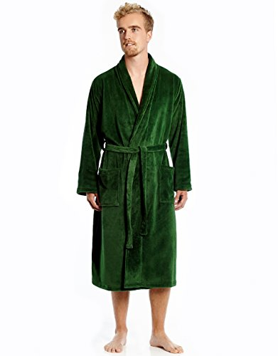 Leveret Mens Fleece Robe Green Size (Green Mens Robe)
