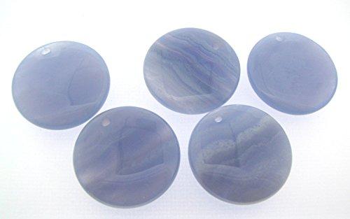 (2 pcs BLUE LACE AGATE 30mm Coin Pendant Beads)