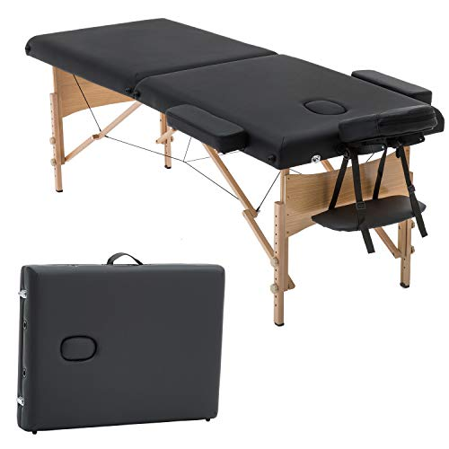 Portable Massage Table Height Adjustable Salon Spa Massage Bed 2 Fold Massage Table 73 Inch Long 28 Inch Wide PU Portable Salon Bed Deluxe Backpack Reiki Table