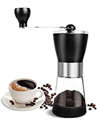 AZFUNN Manuel Coffee Grinder, Portable Ceramic Conical Burr Personal Coffee Bean Grinder Spice Herb Pepper Mill with Glass Powder Store for Home and Travel, 1.4 Ounce (Black Silver)