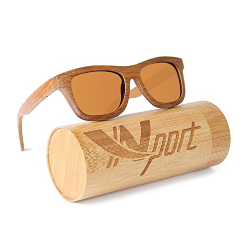 Wood Designer Classics (Ynport Mens/Womens Polarized Full Charcoal Bamboo Frame Classic Wooden Coated Sunglasses, vintage Eyewear, Floating in Water)