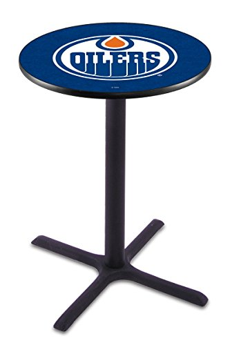 "Holland Bar Stool L211 NHL Edmonton Oilers Officially Licensed Pub Table, 28"" x 36"", Steel"