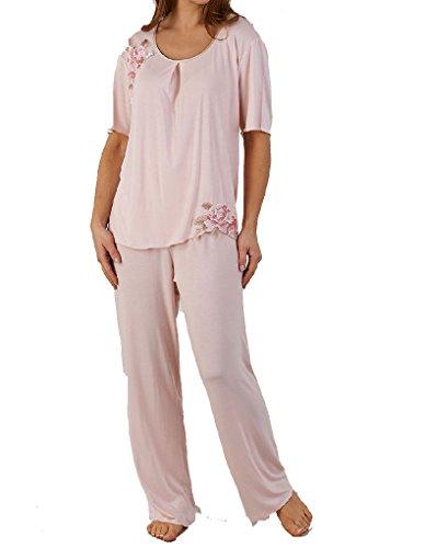 Slenderella Pyjama Set mit kurzen Ärmeln in Pink mit geblümter Spitzen Applikation PJ5142