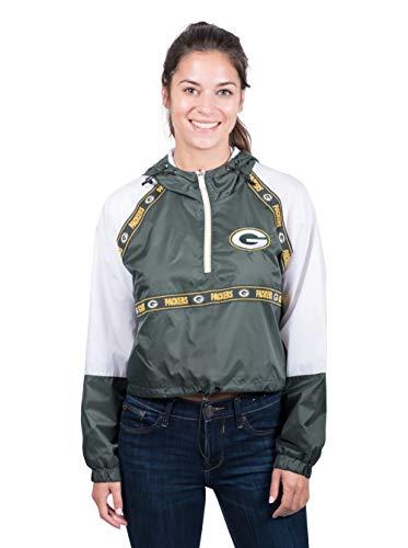 - NFL Green Bay Packers Women's Quarter Zip Hoodie Windbreaker Play Action Jacket, Large, Green