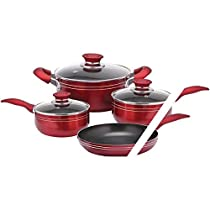 Brentwood - 7-Piece Cookware Set - Red