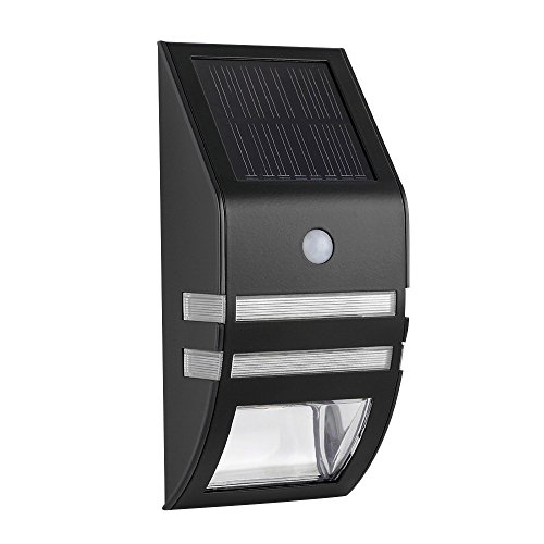 AENMIL 2 Led Solar Lights Waterproof Motion Sensor Outdoor Wall Lamp for Staircase Step Garden Yard Wall Fence Backyards(Warm White, Black)