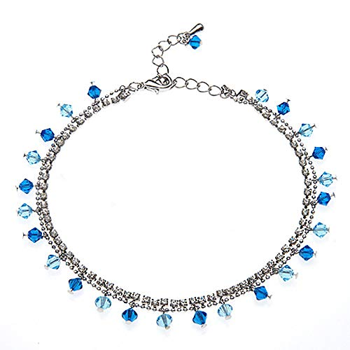 - 2-Strand Ocean Blue Faceted Crystal Cubic Zirconia CZ Rhodium Plated Brass Anklet
