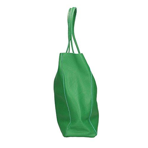 Donna in Shoulder Aren Made in a 27x33x13 Italy Pelle da Verde Spalla Borsa Vera Cm Bag FqCTwYA
