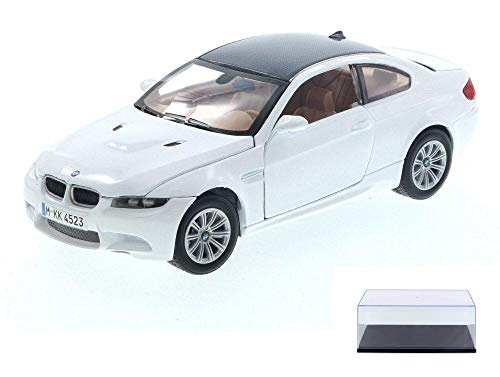 Motor Max Diecast Car & Display Case Package - 2008 BMW M3 Coupe, Cream White 73347/16D - 1/24 Scale Diecast Model Toy Car w/Display ()