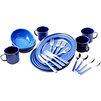 Unica Camping Collection 24 Piece Dinnerware Set Blue Enamel Service For 4