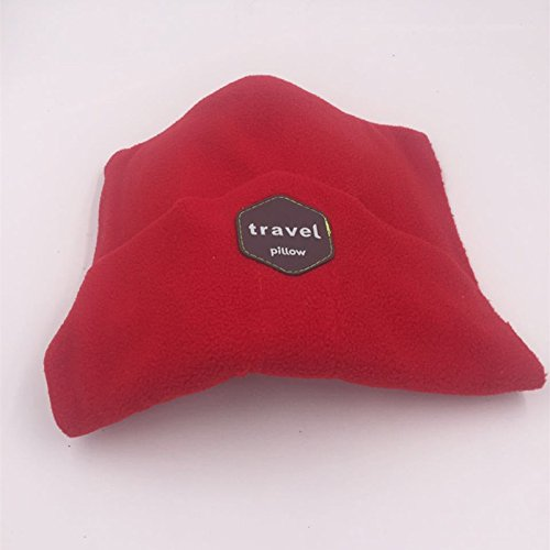 Kmoddity Siesta Neck Support Airplane Pillow with Chin Support - Ergonomic, Machine Washable, Lightweight and Soft Neck Scarf Travel Pillow for Adults (Red) for cheap