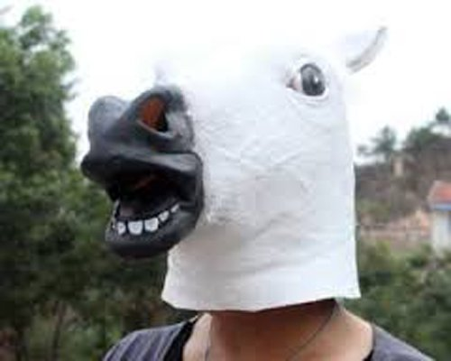 Horror Scary White Horse Head Mask for Halloween Cosplay Costume Party by Laylala® (Image #2)