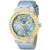 GUESS Women's U0289L2 Ice Blue Python Print Multifunction Watch