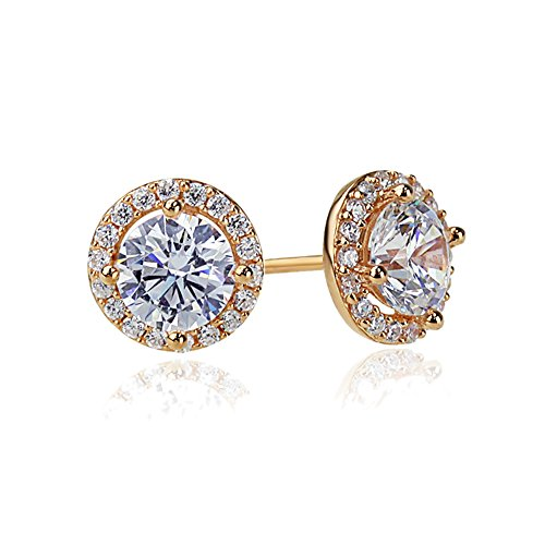 Sterling Silver 14K Rose Gold Plated Round CZ Halo Stud Earrings