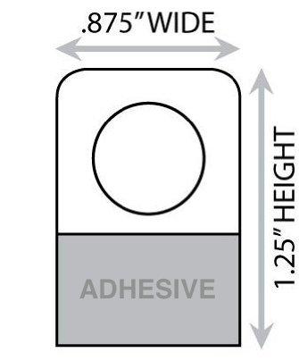 1-1/4 X 7/8 Round Hole Adhesive Hang Tabs - 1000/Pack - Heavy Duty Adhesive Hang Tags
