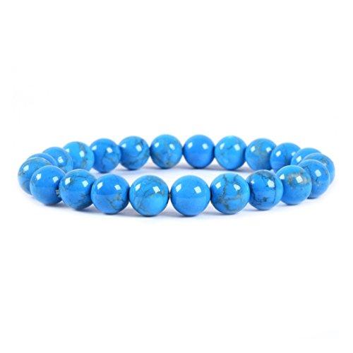 Dyed Turquoise Howlite Gemstone 8mm Round Beads Stretch Bracelet 7