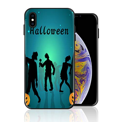 Silicone Case for iPhone 6s and iPhone 6, Halloween Zombie and Pumpkin Design Printed Phone Case Full Body Protection Shockproof Anti-Scratch Drop Protection Cover]()