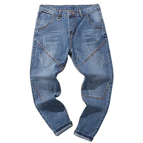 Hombre Jeans Pantalones,Sonnena Vaqueros Ocasionales de algodón de la Vendimia del otoño Denim Cotton Wash Pantalones de Trabajo Jeans Pantalones Larga K