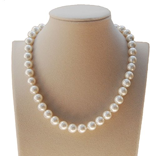 Fashion Shell Pearl Necklace - 10mm Round South Sea Shell Pearl White Necklace 16