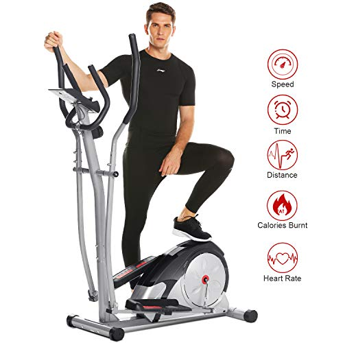 ANCHEER Elliptical Machine, Magnetic Elliptical Exercise Training Machine with LCD Monitor, Pulse Rate Grips and Tablet Holder,120 KG Max Weight,8-Level Magnetic Resistance