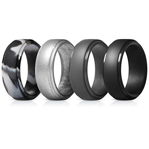 (ThunderFit Silicone Rings for Men - 4 Pack Rubber Wedding Bands (Grey Camo, Silver, Black, Dark Grey, 15.5-16)