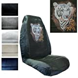 Seat Cover Connection White Tiger print 2 High Back Bucket Car Truck SUV Seat Covers - Black