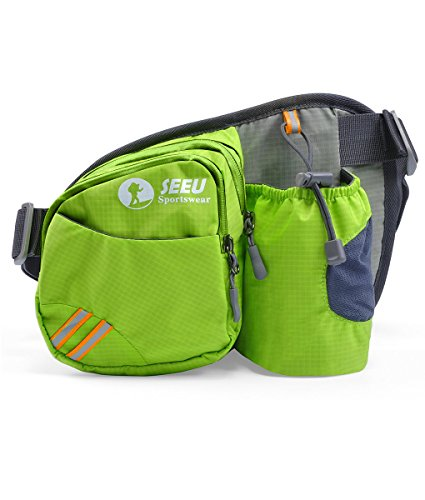 Price comparison product image Multipurpose Waist Bag for Men and Women, Sports Travel Hip Bag with Water Bottle Holder and Cell Phone Pocket-Green