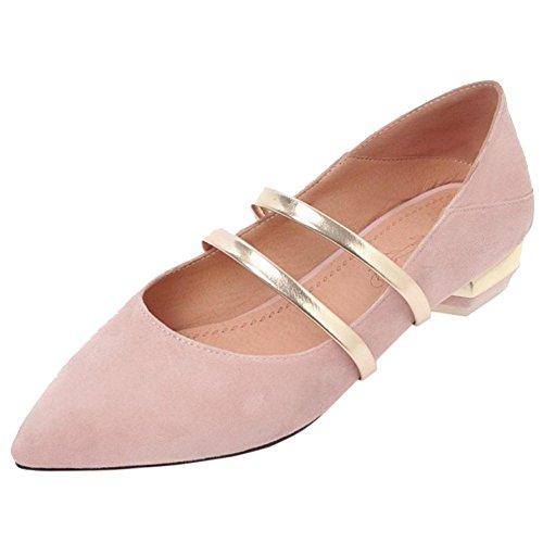 Coolcept Mujer Tacon Bajo Bombas Zapatos Pink