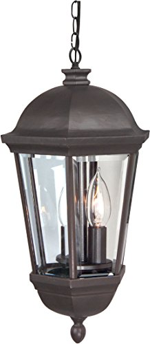 Craftmade Z3011-92 Hanging Lanterns with Beveled Glass Shades, Oiled Bronze For Sale