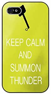 iPhone 4 / 4s Keep Calm and summon thunder - black plastic case / Keep Calm, Motivation and Inspiration