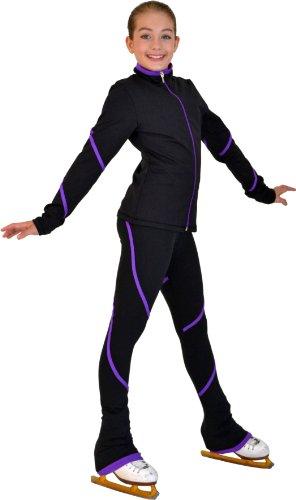 Chloe Noel P76 - Heavy Poly Spandex Pipings Swirl Skate Pants (Purple, Adult Medium)