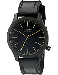 Electric Unisex EW0080050055 FW03 Analog Display Japanese Quartz Black Watch with Leather Strap