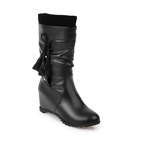 1TO9 Womens Boots Closed-Toe No-Closure Adjustable-Strap Kitten-Heel Warm Lining Water_Resistant Smooth Leather Urethane Boots MNS02577 Black aDgcHo3uaw