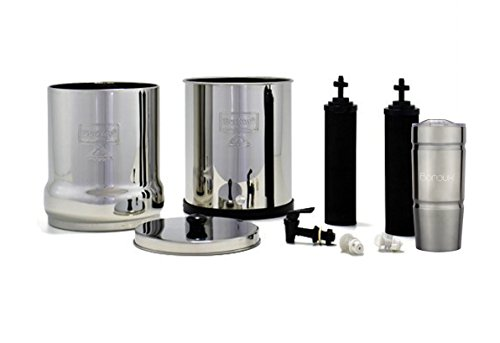 BIG Berkey Water Filter System with 2 Black Purifier Filters (2 Gallons) Bundled with 1 Boroux Double Walled 20 oz Stainless Steel Tumbler Cup. A powerful, simple, and cost-efficient water filter