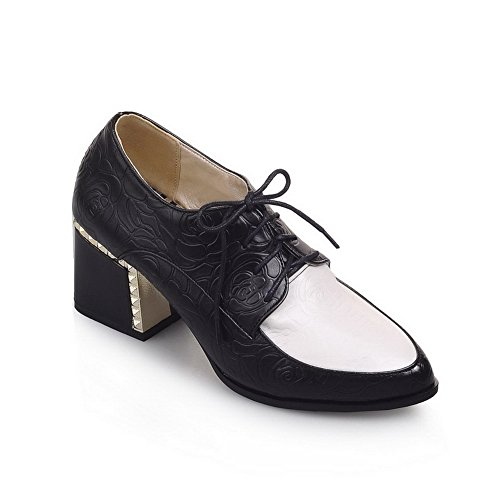 Womens AmoonyFashion Pumps Shoes Toe Material Closed Soft Kitten Lace Heels up Black Pointed OdZpdrSq