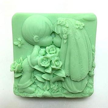 Molde de silicona C248 A872 para chica, jabón de boda de silicona, molde para decoración de tartas, moldes de beso rosa, accesorio de cocina H524: ...