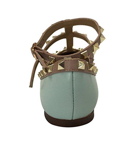 bb81bb93e32 Kaitlyn Pan RockStud Strappy Ballerina Leather Flats(8.5US  - Import ...