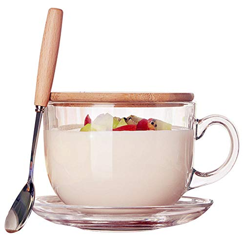 Large capacity Japanese mug with lid spoon milk cup breakfast cup glass cereal cup cereal bowl oatmeal breakfast cup + bamboo cover + wooden spoon + cup saucer (Oatmeal Saucer)